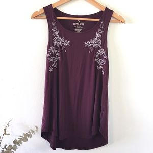 AEO | Maroon Embroidered Floral Soft & Sexy M